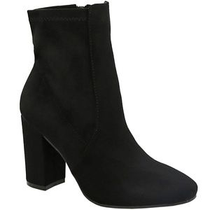 New Black Stretch Chunky Heel Ankle Boots Booties